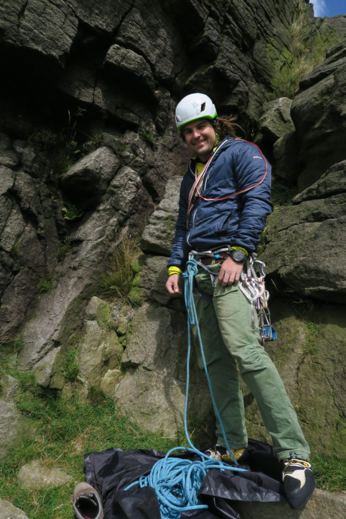 Testing out trad gear at Windgather crag
